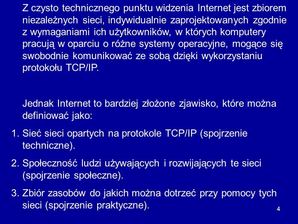 4 Z czysto technicznego punktu widzenia Internet jest zbiorem niezależnych sieci, indywidualnie zaprojektowanych zgodnie z wymaganiami ich użytkownikó