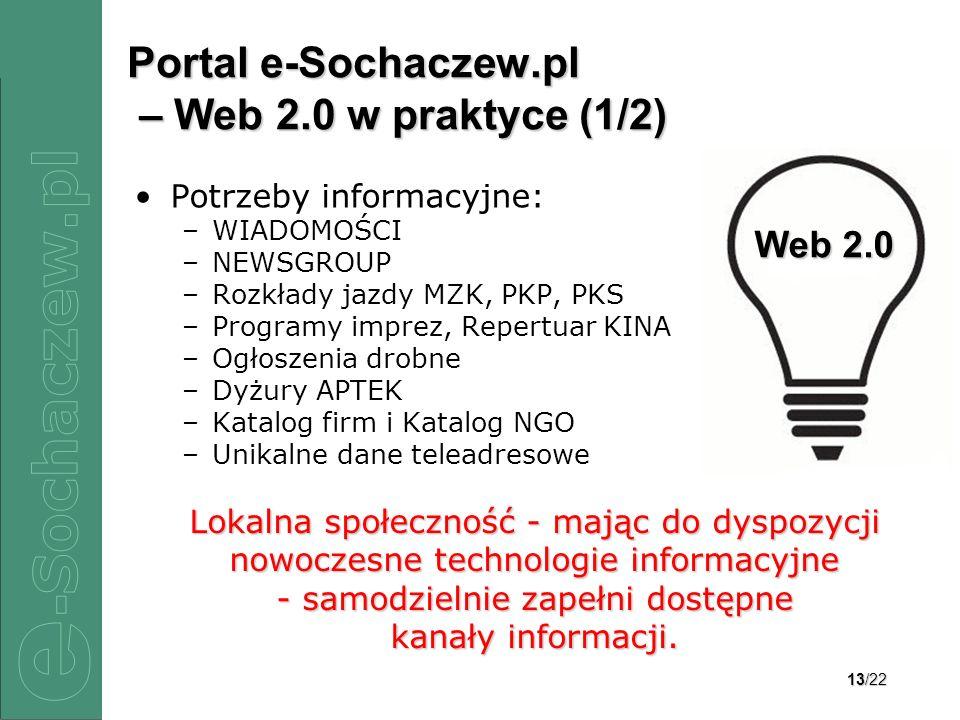 13/22 Portal e-Sochaczew.pl – Web 2.0 w praktyce (1/2) Potrzeby informacyjne: –WIADOMOŚCI –NEWSGROUP –Rozkłady jazdy MZK, PKP, PKS –Programy imprez, R