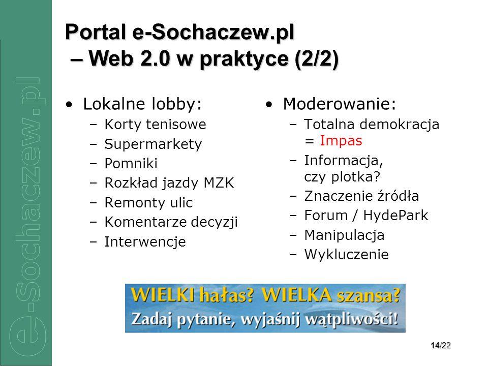14/22 Portal e-Sochaczew.pl – Web 2.0 w praktyce (2/2) Lokalne lobby: –Korty tenisowe –Supermarkety –Pomniki –Rozkład jazdy MZK –Remonty ulic –Komenta