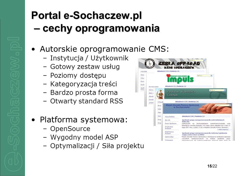 15/22 Portal e-Sochaczew.pl – cechy oprogramowania Autorskie oprogramowanie CMS: –Instytucja / Użytkownik –Gotowy zestaw usług –Poziomy dostępu –Kateg