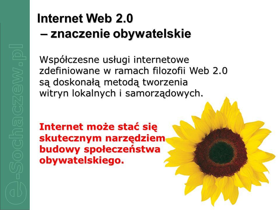 2/22 Internet Web 2.0 – znaczenie obywatelskie Współczesne usługi internetowe zdefiniowane w ramach filozofii Web 2.0 są doskonałą metodą tworzenia wi
