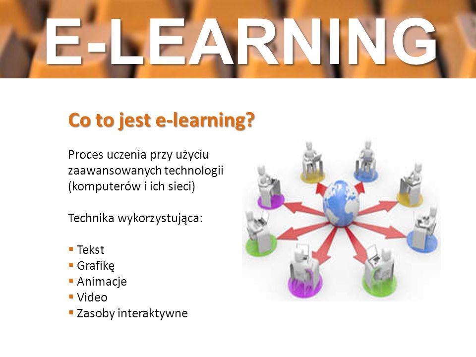 D Co to jest e-learning? Proces uczenia przy użyciu zaawansowanych technologii (komputerów i ich sieci) Technika wykorzystująca: Tekst Grafikę Animacj