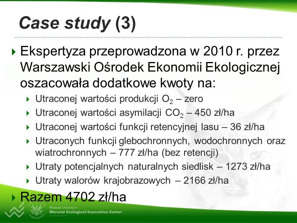 Case study (4) Na obliczoną sumę największy wpływ mają walory rekreacyjne, które są szczególnie wysokie w parkach narodowych Jednak nawet w zwykłych lasach są one znaczące i zazwyczaj przewyższają wartość związaną z pozyskaniem grubizny Pełna wartość terenu leśnego może parokrotnie przewyższać wartość odzwierciedlającą pozyskanie grubizny