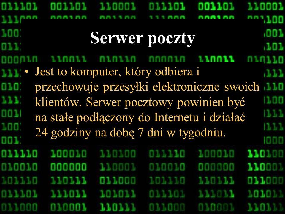 7 Konto poczty elektronicznej Miejsce na serwerze pocztowym gdzie są przechowywane wiadomości właściciela konta