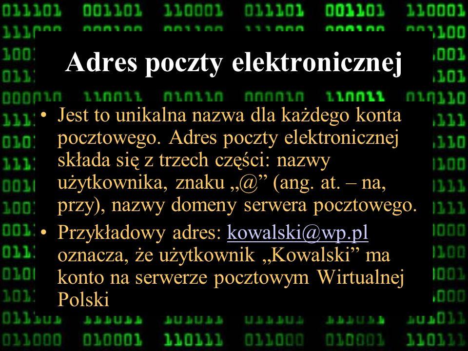 8 Serwer poczty Jest to komputer, który odbiera i przechowuje przesyłki elektroniczne swoich klientów. Serwer pocztowy powinien być na stałe podłączon