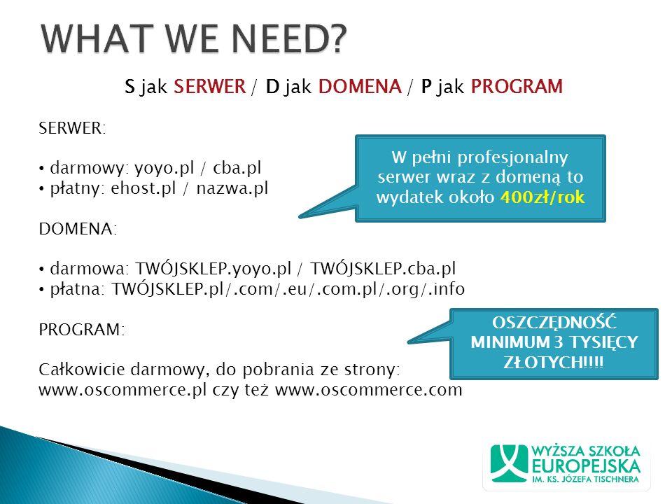 S jak SERWER / D jak DOMENA / P jak PROGRAM SERWER: darmowy: yoyo.pl / cba.pl płatny: ehost.pl / nazwa.pl DOMENA: darmowa: TWÓJSKLEP.yoyo.pl / TWÓJSKL