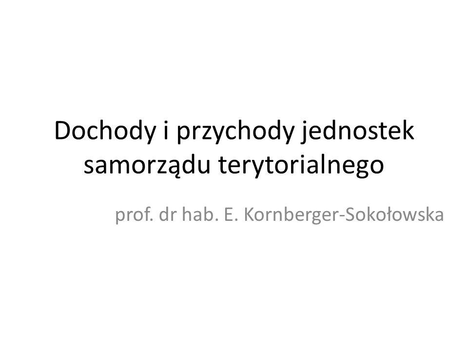 Dochody i przychody jednostek samorządu terytorialnego prof. dr hab. E. Kornberger-Sokołowska
