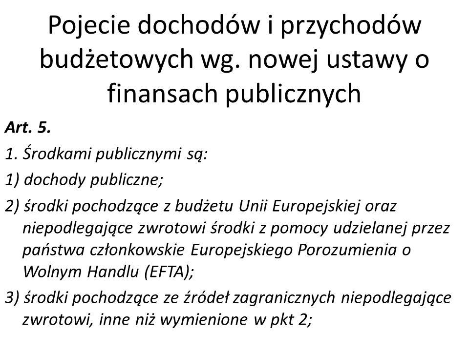 Pojecie dochodów i przychodów budżetowych wg. nowej ustawy o finansach publicznych Art. 5. 1. Środkami publicznymi są: 1) dochody publiczne; 2) środki
