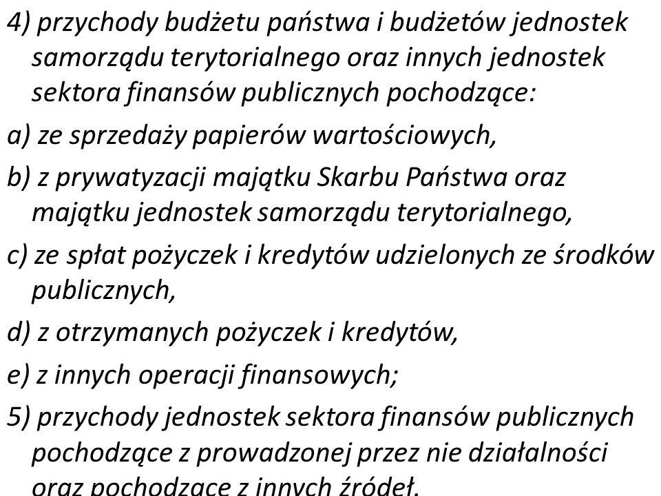 4) przychody budżetu państwa i budżetów jednostek samorządu terytorialnego oraz innych jednostek sektora finansów publicznych pochodzące: a) ze sprzed