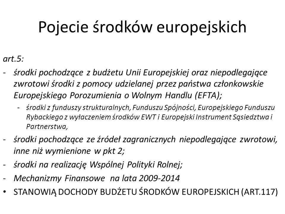 Pojecie środków europejskich art.5: -środki pochodzące z budżetu Unii Europejskiej oraz niepodlegające zwrotowi środki z pomocy udzielanej przez państ