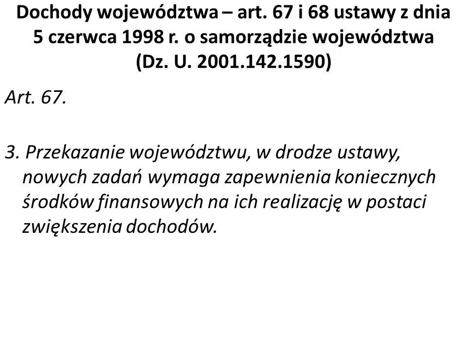 Dochody województwa – art. 67 i 68 ustawy z dnia 5 czerwca 1998 r. o samorządzie województwa (Dz. U. 2001.142.1590) Art. 67. 3. Przekazanie województw