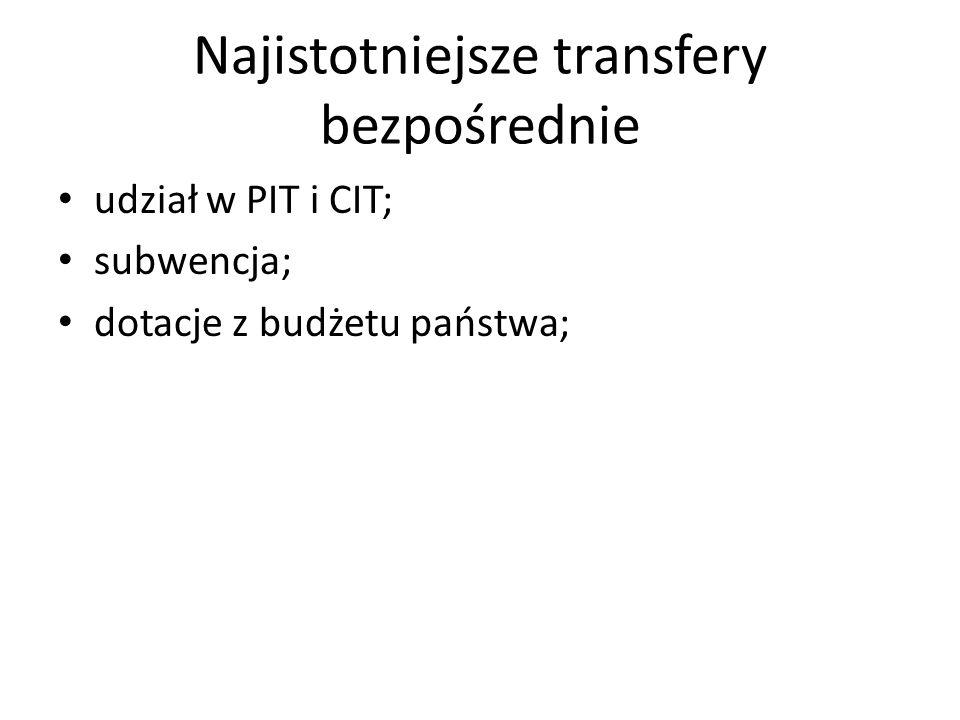 Najistotniejsze transfery bezpośrednie udział w PIT i CIT; subwencja; dotacje z budżetu państwa;