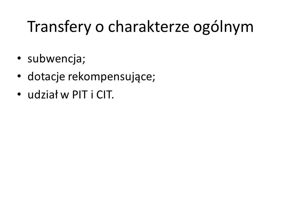 Transfery o charakterze ogólnym subwencja; dotacje rekompensujące; udział w PIT i CIT.