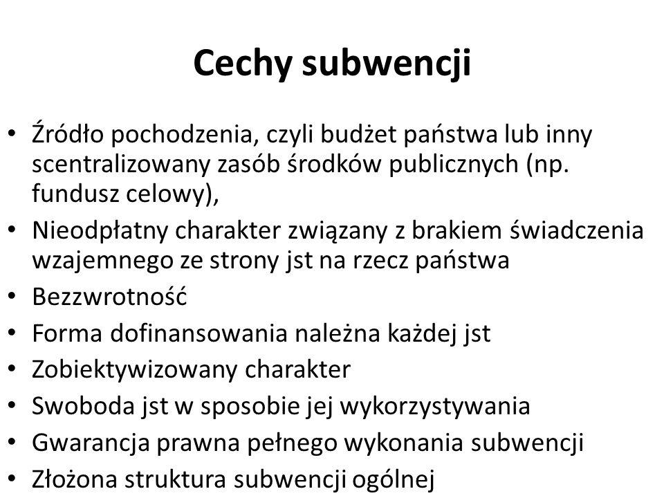 Cechy subwencji Źródło pochodzenia, czyli budżet państwa lub inny scentralizowany zasób środków publicznych (np. fundusz celowy), Nieodpłatny charakte