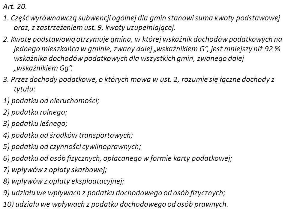 Art. 20. 1. Część wyrównawczą subwencji ogólnej dla gmin stanowi suma kwoty podstawowej oraz, z zastrzeżeniem ust. 9, kwoty uzupełniającej. 2. Kwotę p