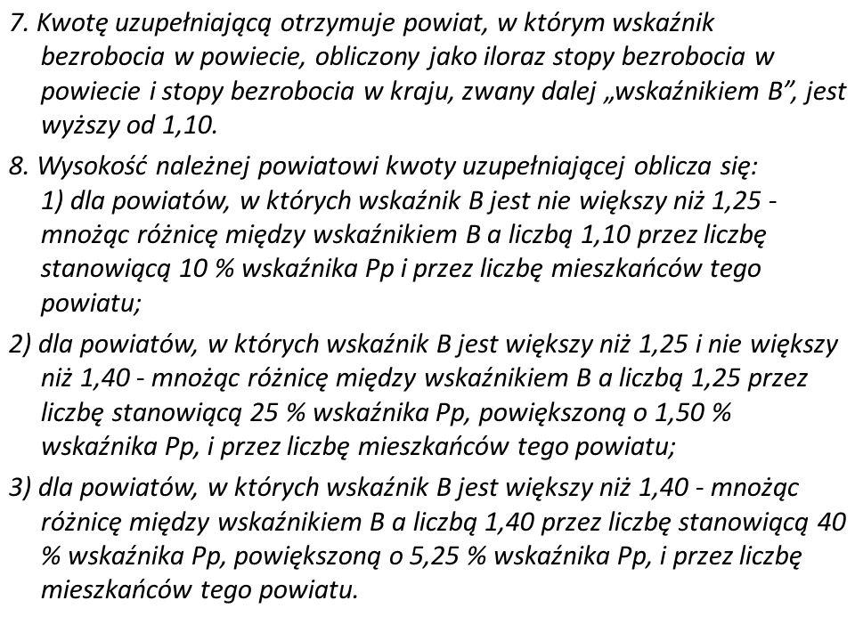 7. Kwotę uzupełniającą otrzymuje powiat, w którym wskaźnik bezrobocia w powiecie, obliczony jako iloraz stopy bezrobocia w powiecie i stopy bezrobocia