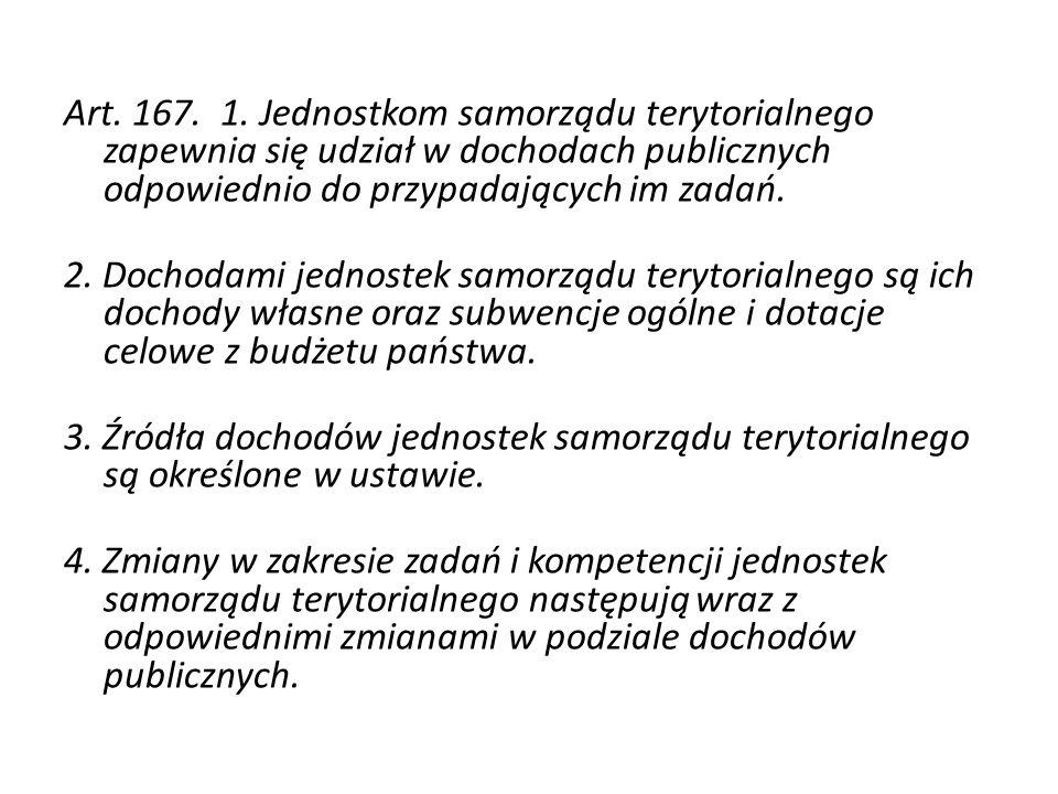 Art. 167. 1. Jednostkom samorządu terytorialnego zapewnia się udział w dochodach publicznych odpowiednio do przypadających im zadań. 2. Dochodami jedn