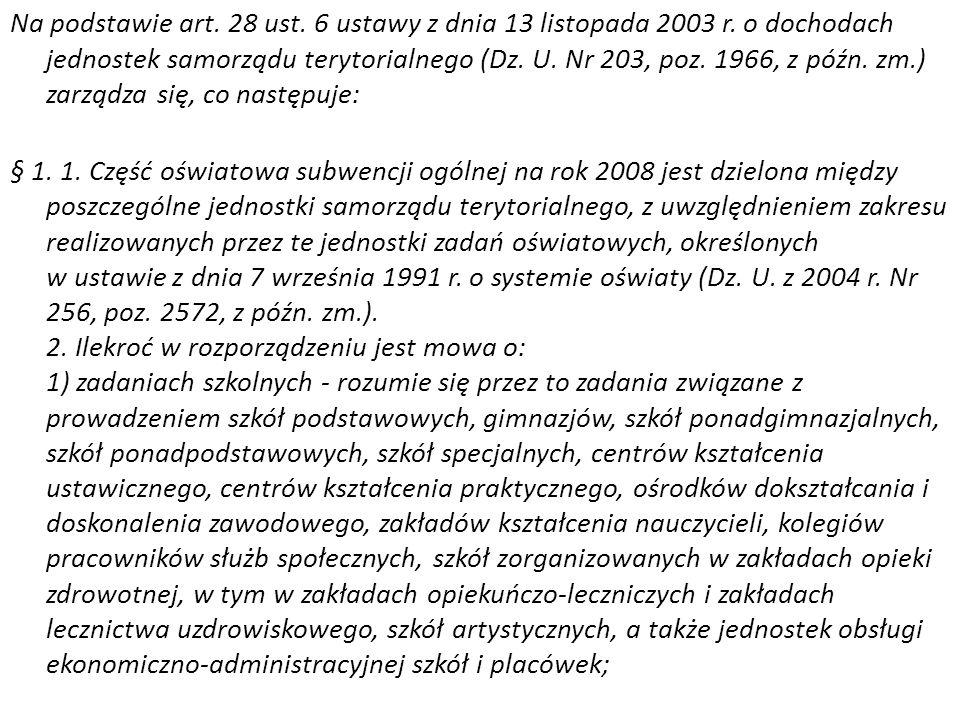 Na podstawie art. 28 ust. 6 ustawy z dnia 13 listopada 2003 r. o dochodach jednostek samorządu terytorialnego (Dz. U. Nr 203, poz. 1966, z późn. zm.)