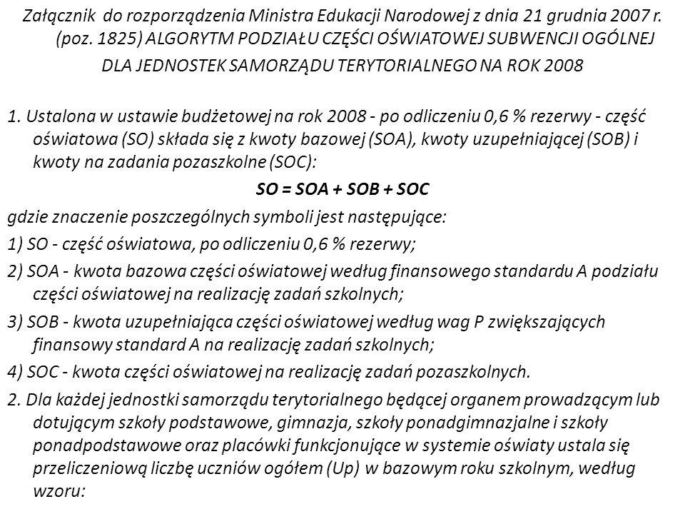 Załącznik do rozporządzenia Ministra Edukacji Narodowej z dnia 21 grudnia 2007 r. (poz. 1825) ALGORYTM PODZIAŁU CZĘŚCI OŚWIATOWEJ SUBWENCJI OGÓLNEJ DL