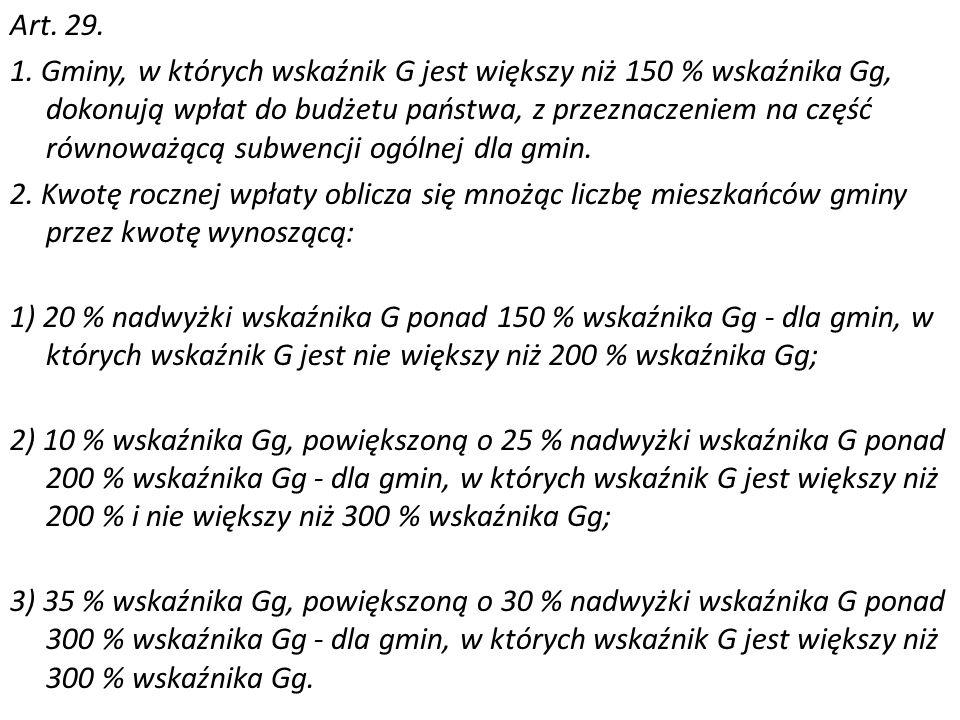 Art. 29. 1. Gminy, w których wskaźnik G jest większy niż 150 % wskaźnika Gg, dokonują wpłat do budżetu państwa, z przeznaczeniem na część równoważącą