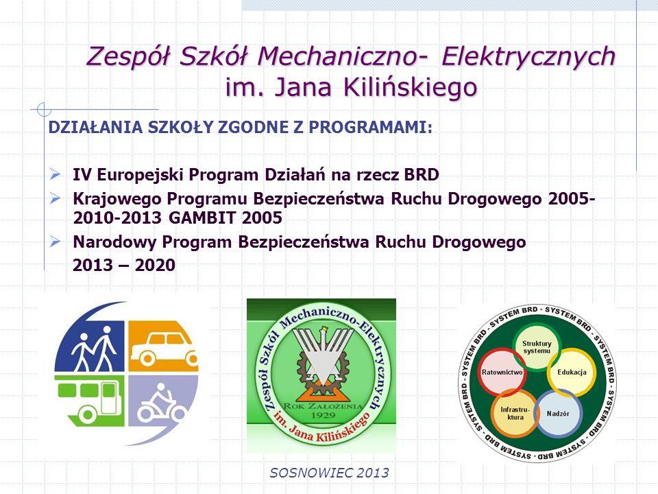 Zespół Szkół Mechaniczno- Elektrycznych im. Jana Kilińskiego SOSNOWIEC 2013 DZIAŁANIA SZKOŁY ZGODNE Z PROGRAMAMI: IV Europejski Program Działań na rze