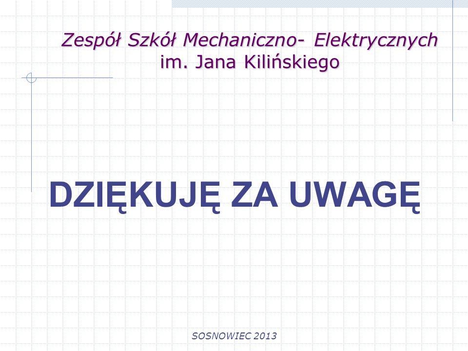 Zespół Szkół Mechaniczno- Elektrycznych im. Jana Kilińskiego SOSNOWIEC 2013 DZIĘKUJĘ ZA UWAGĘ