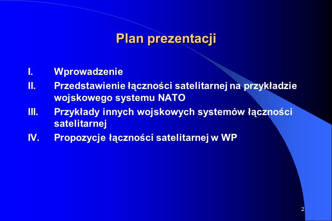 2 Plan prezentacji I.Wprowadzenie II.Przedstawienie łączności satelitarnej na przykładzie wojskowego systemu NATO III.Przykłady innych wojskowych systemów łączności satelitarnej IV.Propozycje łączności satelitarnej w WP