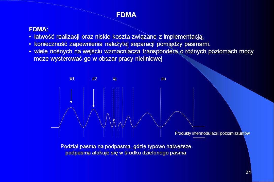 33 Możemy wyróżnić trzy rodzaje technik dostępu wielokrotnego: FDMA (Frequency Division Multiple Access) TDMA (Time Division Multiple Access) CDMA (Co