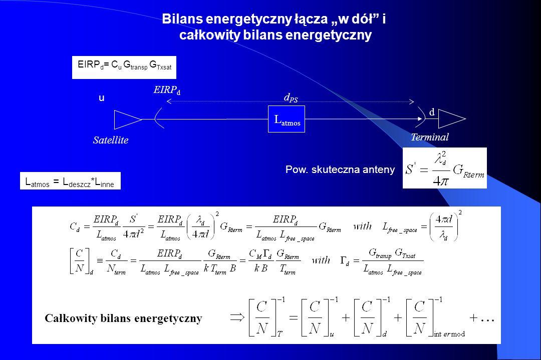 44 EIRP ter d u Satelita L atmos Terminal ( C u jest niezależne od częstotliwości) (L free_space dla SHF GEO, wynosi około 200 dB) Bilans energetyczny