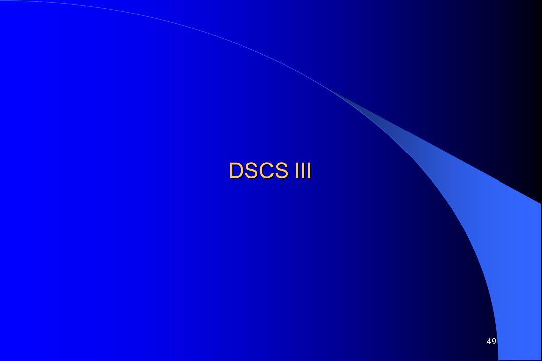 48 III. Przykłady innych wybranych wojskowych systemów łączności satelitarnej DSCS III (USA) UFO (USA) FLTSATCOM (USA) MILSTAR (USA) SYRACUSE 2 (Franc