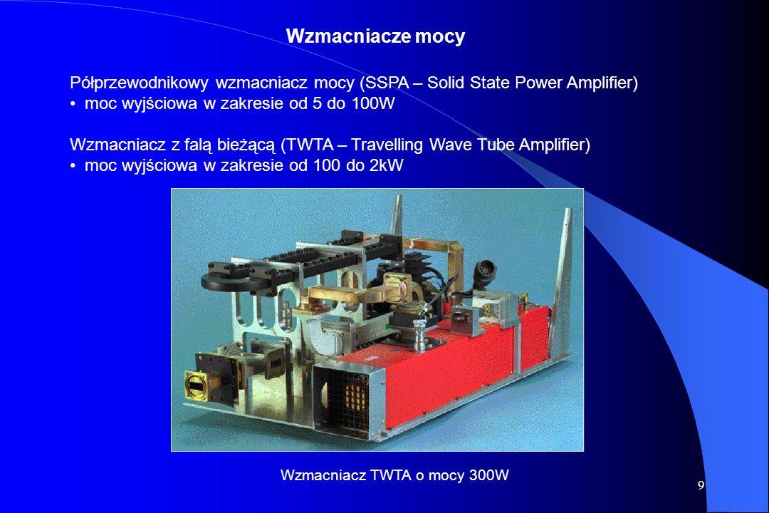 9 Półprzewodnikowy wzmacniacz mocy (SSPA – Solid State Power Amplifier) moc wyjściowa w zakresie od 5 do 100W Wzmacniacz z falą bieżącą (TWTA – Travelling Wave Tube Amplifier) moc wyjściowa w zakresie od 100 do 2kW Wzmacniacz TWTA o mocy 300W Wzmacniacze mocy