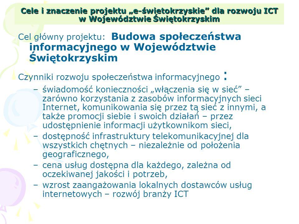 Cele i znaczenie projektu e-świetokrzyskie dla rozwoju ICT w Województwie Świętokrzyskim Cel główny projektu: Budowa społeczeństwa informacyjnego w Wo