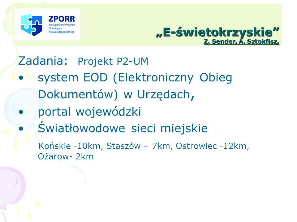 E-świetokrzyskie Z. Sender, A. Sztokfisz, Zadania: Projekt P2-UM system EOD (Elektroniczny Obieg Dokumentów) w Urzędach, portal wojewódzki Światłowodo