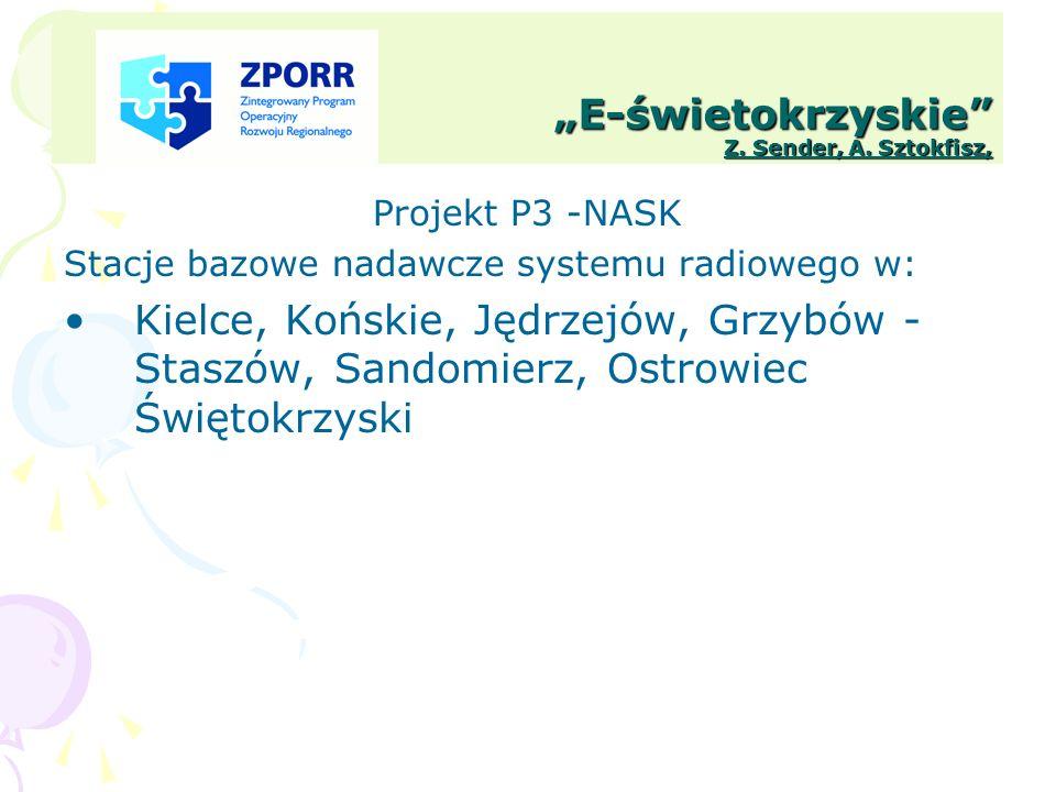E-świetokrzyskie Z. Sender, A. Sztokfisz, Projekt P3 -NASK Stacje bazowe nadawcze systemu radiowego w: Kielce, Końskie, Jędrzejów, Grzybów - Staszów,