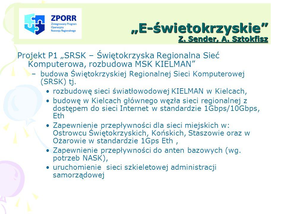 E-świetokrzyskie Z. Sender, A. Sztokfisz Projekt P1 SRSK – Świętokrzyska Regionalna Sieć Komputerowa, rozbudowa MSK KIELMAN –budowa Świętokrzyskiej Re