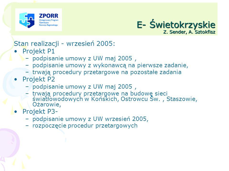 E- Świetokrzyskie Z. Sender, A. Sztokfisz Stan realizacji - wrzesień 2005: Projekt P1 –podpisanie umowy z UW maj 2005, –podpisanie umowy z wykonawcą n