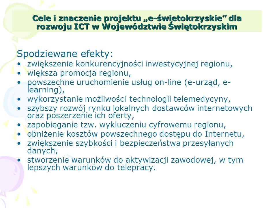 Cele i znaczenie projektu e-świetokrzyskie dla rozwoju ICT w Województwie Świętokrzyskim Spodziewane efekty: zwiększenie konkurencyjności inwestycyjne