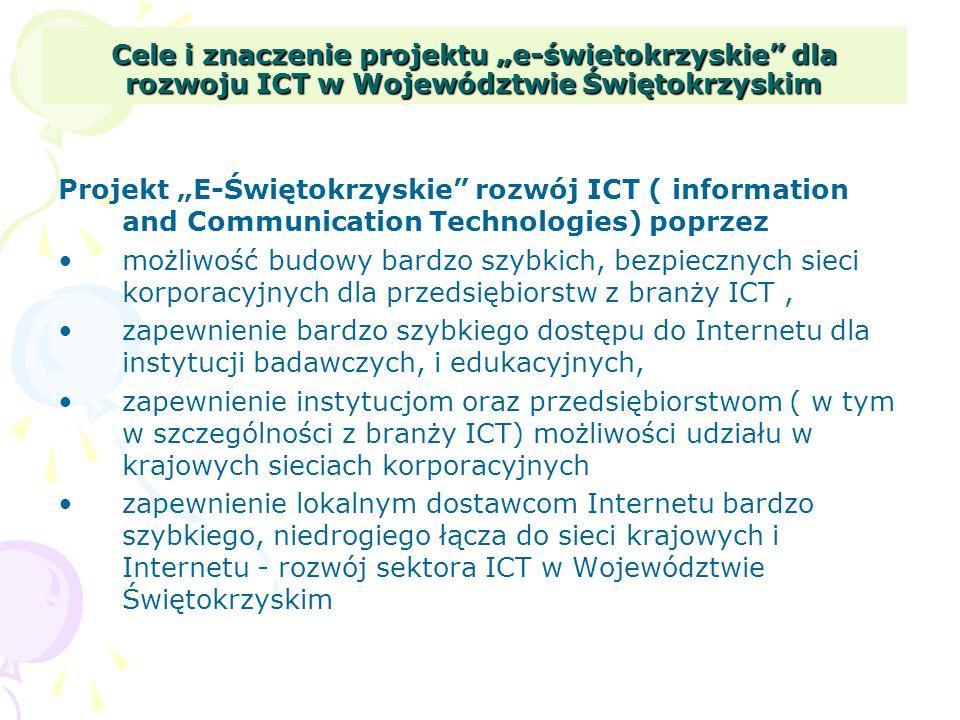 Cele i znaczenie projektu e-świetokrzyskie dla rozwoju ICT w Województwie Świętokrzyskim Projekt E-Świętokrzyskie rozwój ICT ( information and Communi