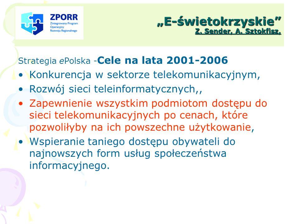 E-świetokrzyskie Z. Sender, A. Sztokfisz, Strategia ePolska - Cele na lata 2001-2006 Konkurencja w sektorze telekomunikacyjnym, Rozwój sieci teleinfor