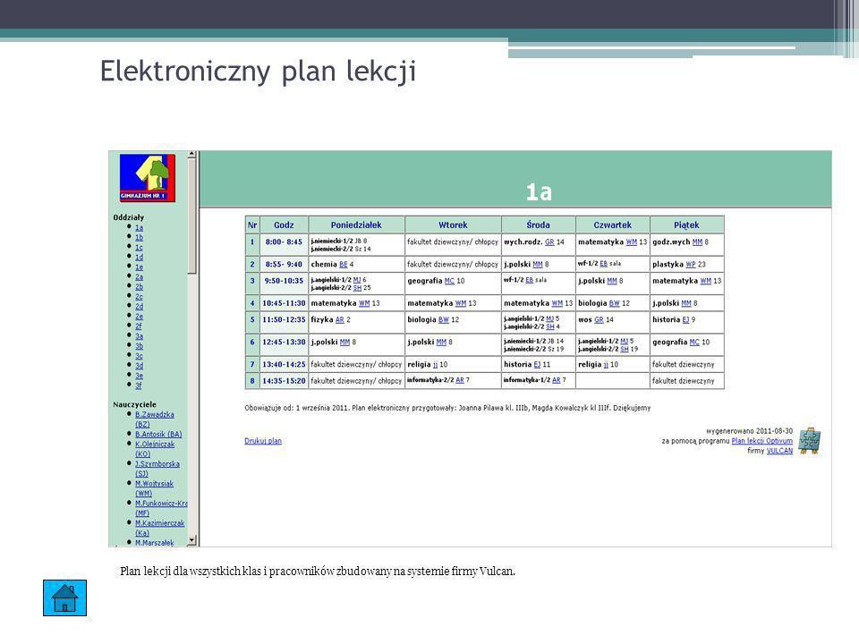 Elektroniczny plan lekcji Plan lekcji dla wszystkich klas i pracowników zbudowany na systemie firmy Vulcan.