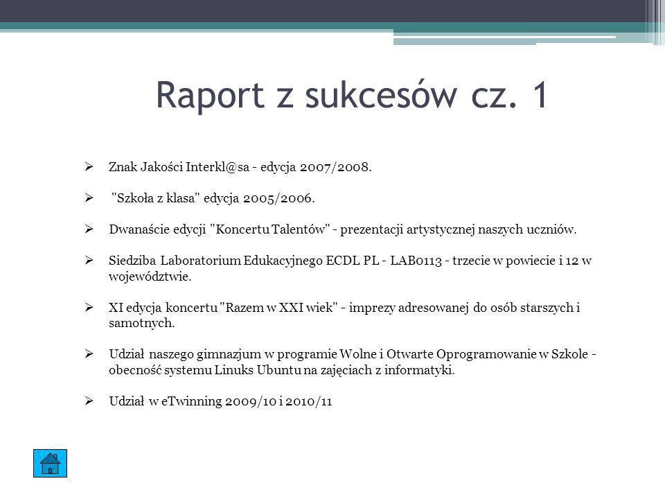 Raport z sukcesów cz. 1 Znak Jakości Interkl@sa - edycja 2007/2008.