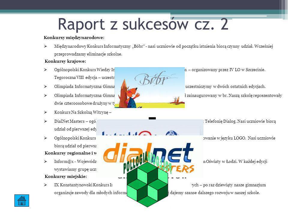Raport z sukcesów cz. 2 Konkursy międzynarodowe: Międzynarodowy Konkurs Informatyczny Bóbr - nasi uczniowie od początku istnienia biorą czynny udział.