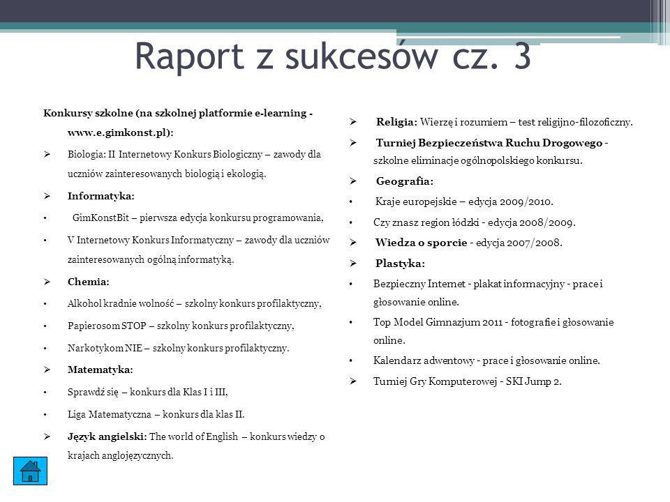 Konkursy szkolne (na szkolnej platformie e-learning - www.e.gimkonst.pl): Biologia: II Internetowy Konkurs Biologiczny – zawody dla uczniów zaintereso
