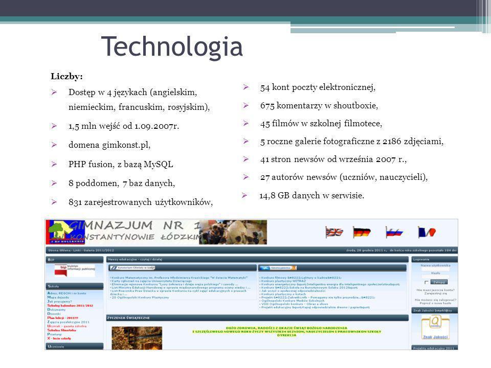 Technologia Liczby: Dostęp w 4 językach (angielskim, niemieckim, francuskim, rosyjskim), 1,5 mln wejść od 1.09.2007r. domena gimkonst.pl, PHP fusion,