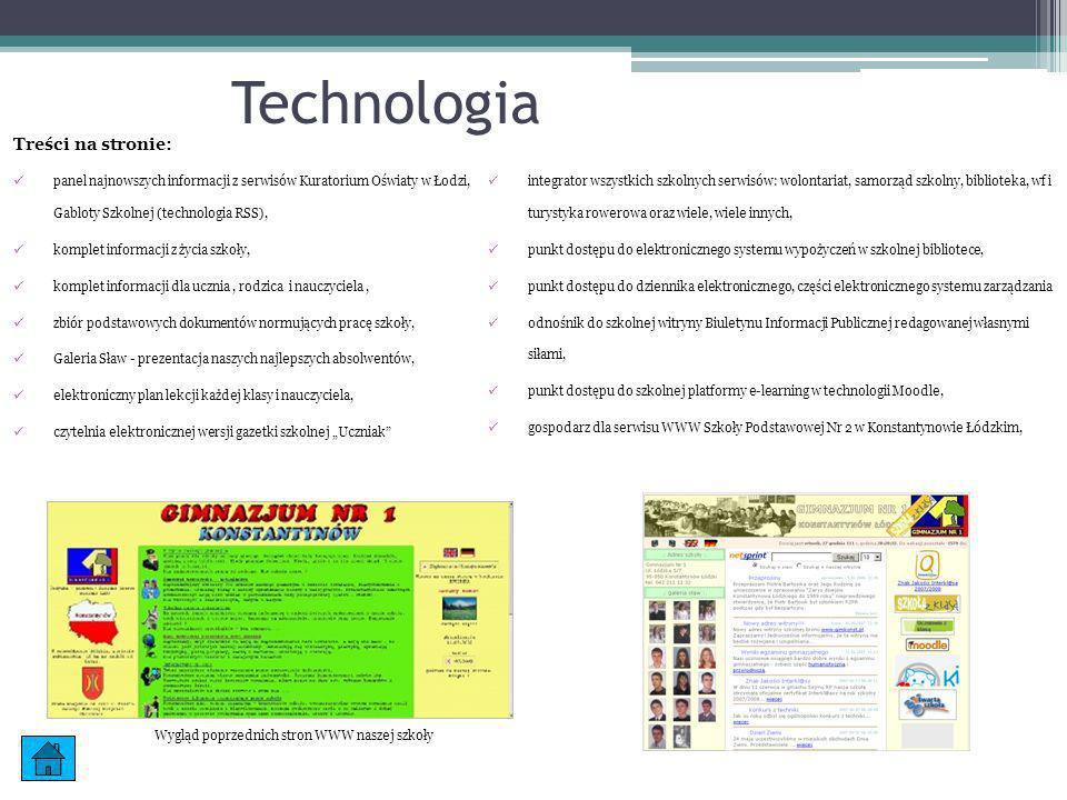 Technologia Treści na stronie: panel najnowszych informacji z serwisów Kuratorium Oświaty w Łodzi, Gabloty Szkolnej (technologia RSS), komplet informa