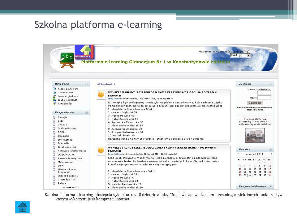 Szkolna platforma e-learning Szkolna platforma e-learning udostępnia 65 konkursów z 8 dziedzin wiedzy. Uczniowie z powodzeniem uczestniczą w wielu inn