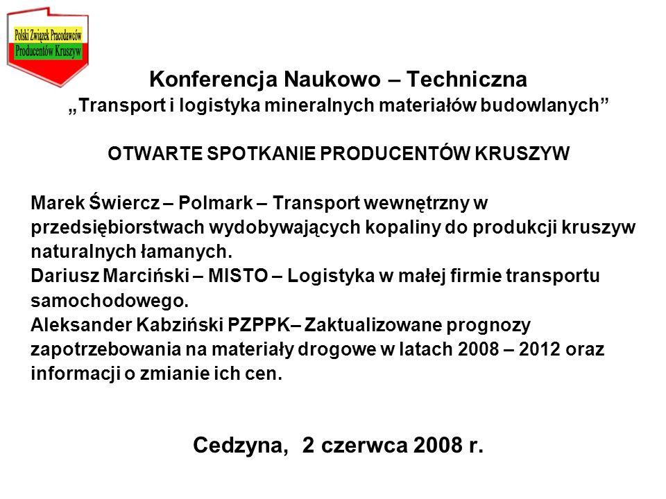 Konferencja Naukowo – Techniczna Transport i logistyka mineralnych materiałów budowlanych OTWARTE SPOTKANIE PRODUCENTÓW KRUSZYW Marek Świercz – Polmar