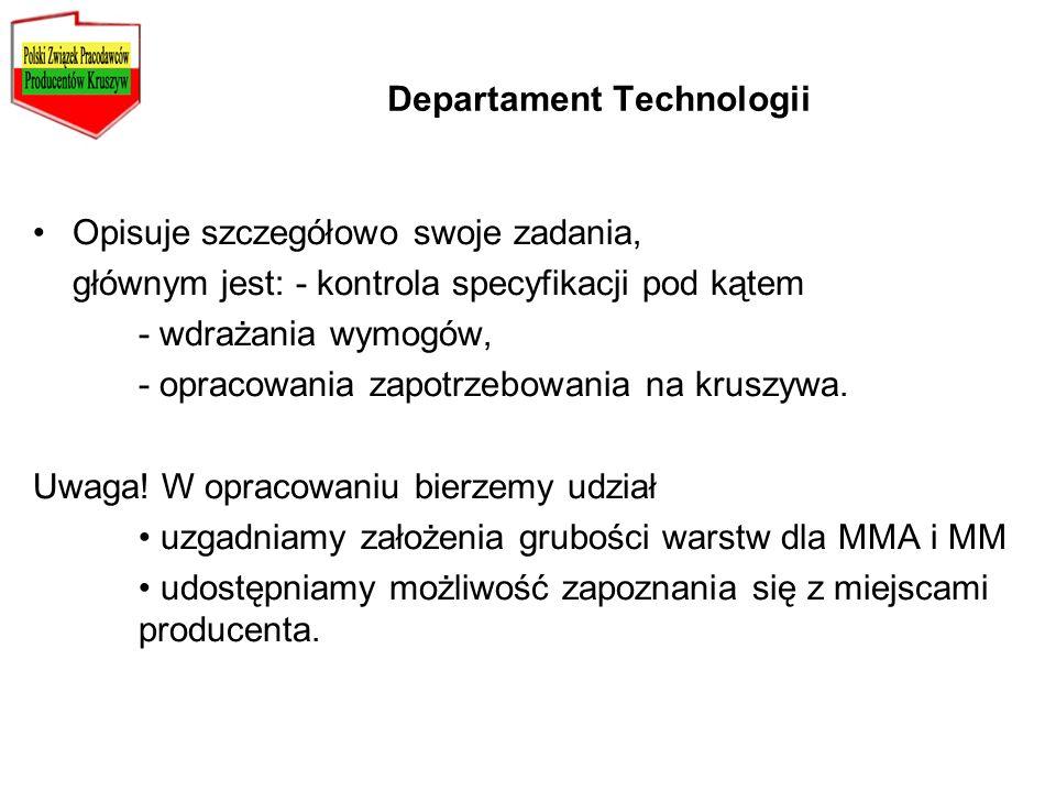 Departament Technologii Opisuje szczegółowo swoje zadania, głównym jest: - kontrola specyfikacji pod kątem - wdrażania wymogów, - opracowania zapotrze