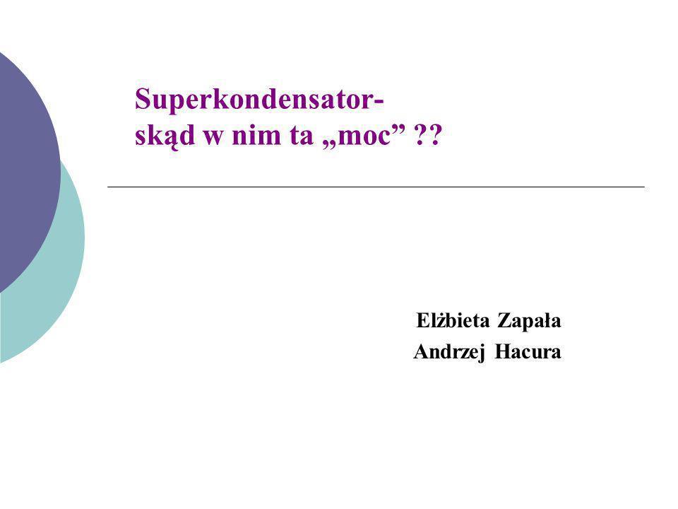 Superkondensator- skąd w nim ta moc ?? Elżbieta Zapała Andrzej Hacura