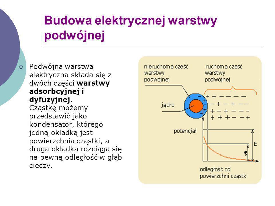 Budowa elektrycznej warstwy podwójnej Podwójna warstwa elektryczna składa się z dwóch części warstwy adsorbcyjnej i dyfuzyjnej. Cząstkę możemy przedst